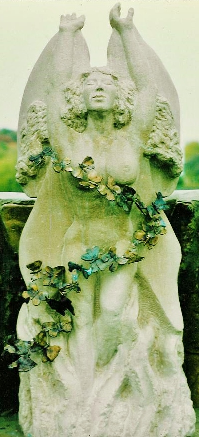 """Butterfly Fairy"" , 1994, Limestone with bronze butterflies, 30"" tall, Duluth, MN"